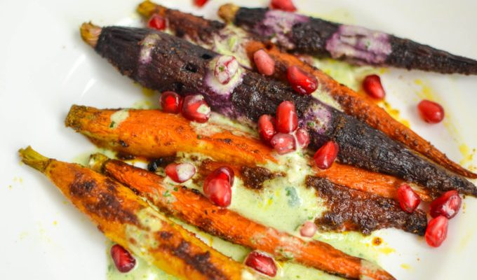 Curry Roasted Carrots with Yogurt Dressing