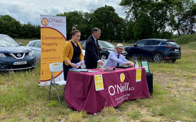 Breda Storey of Jefferson Solicitors, Darac O'Neill & Stephen Keeler of O'Neill 7 Co. pictured during the land auction at Waterstown, Sallins