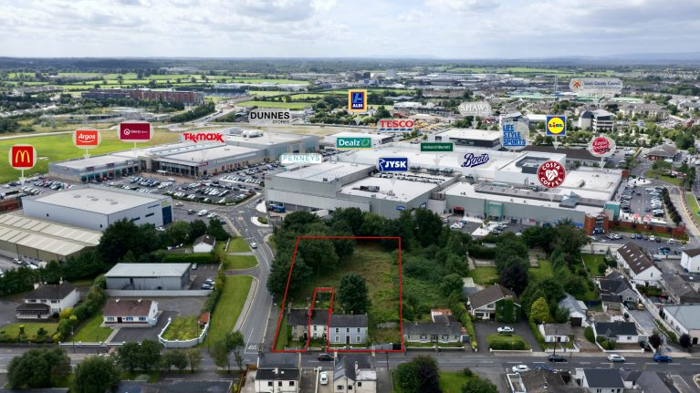 Aerial view of site for sale at Portlaoise
