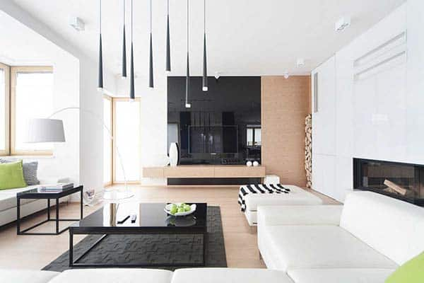 featured posts image for Black and white interiors with wood accents in Poland: D24 House