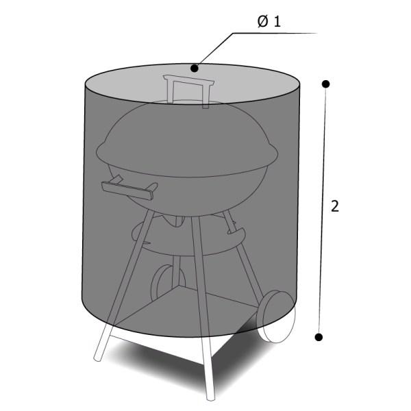 Housse sur mesure barbecue rond avec dimensions