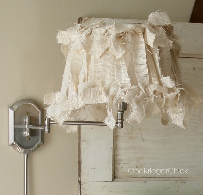Burlap Covered Lampshade In 4 Easy Steps Onekriegerchick
