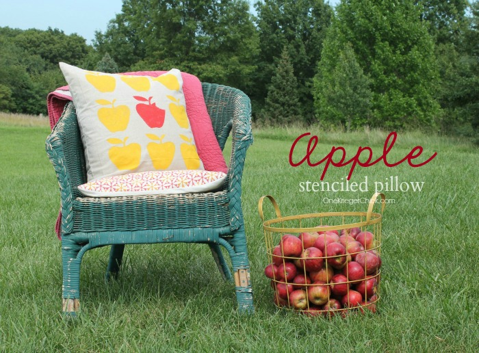 Stenciled Apple pillow-OneKriegerChick.com