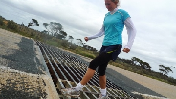 Cattle grids across Highway 1 around Australia posed a threat to rolling ankles. I slowed down each time to step carefully across these 20 or so traps.