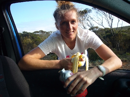 Breakfast on the run, usually about 18km in on a morning run.