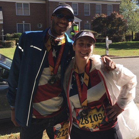 and I after the marathon. Today was hard fought as my dad was going to be a photog and come out for support today. I hit a huge wall at mile 18 and struggled to get past it. Thanks for cheering me on, everybody! Today, I did this for my dad