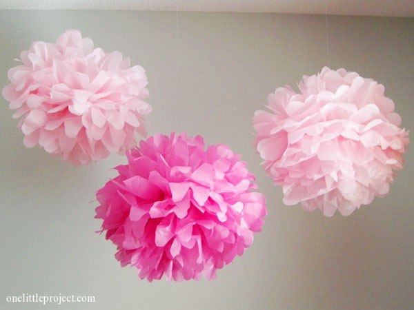 How to Make Tissue Paper Pom Poms   an easy step by step tutorial how to make tissue paper pom poms   onelittleproject com
