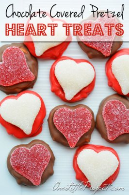 These chocolate covered pretzels for Valentine's Day are an easy gift idea and end up being a fun little edible craft to do with the kids.