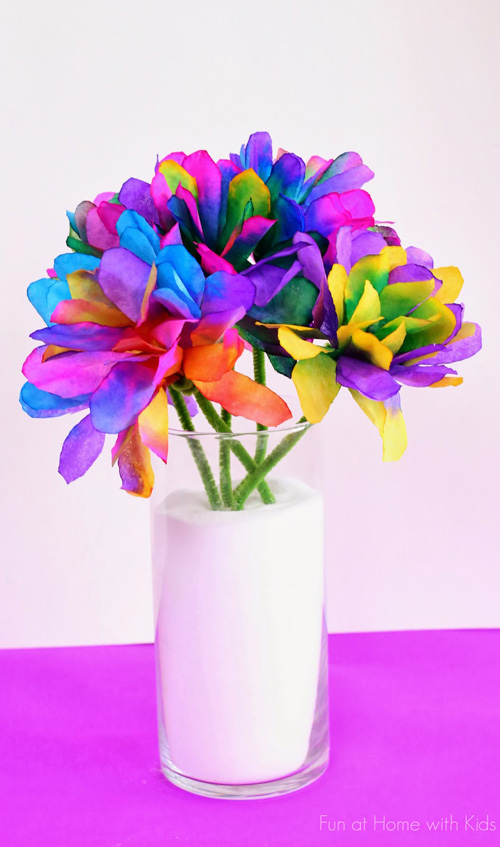 20 Beautiful Coffee Filter Crafts - Vibrantly Colored Coffee Filter Flowers