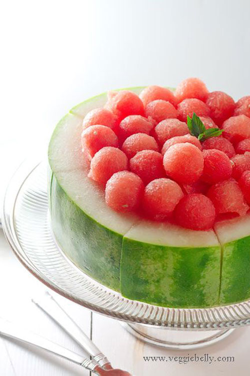 50+ Best Recipes for Fresh Watermelon - Watermelon Cake with Melon Balls