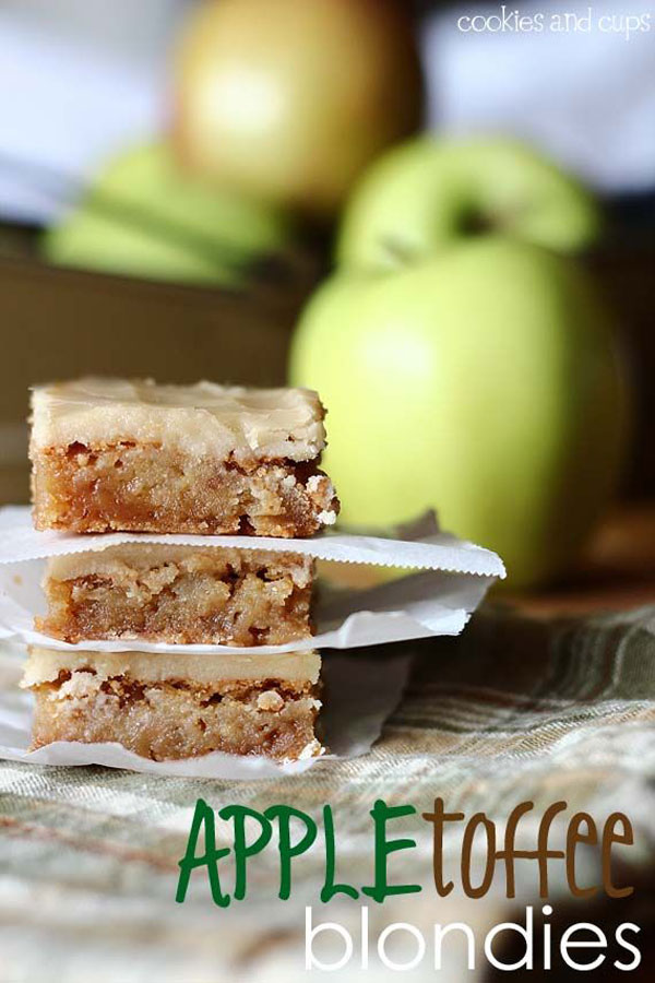 50+ Best Squares and Bars Recipes - Apple Toffee Blondies