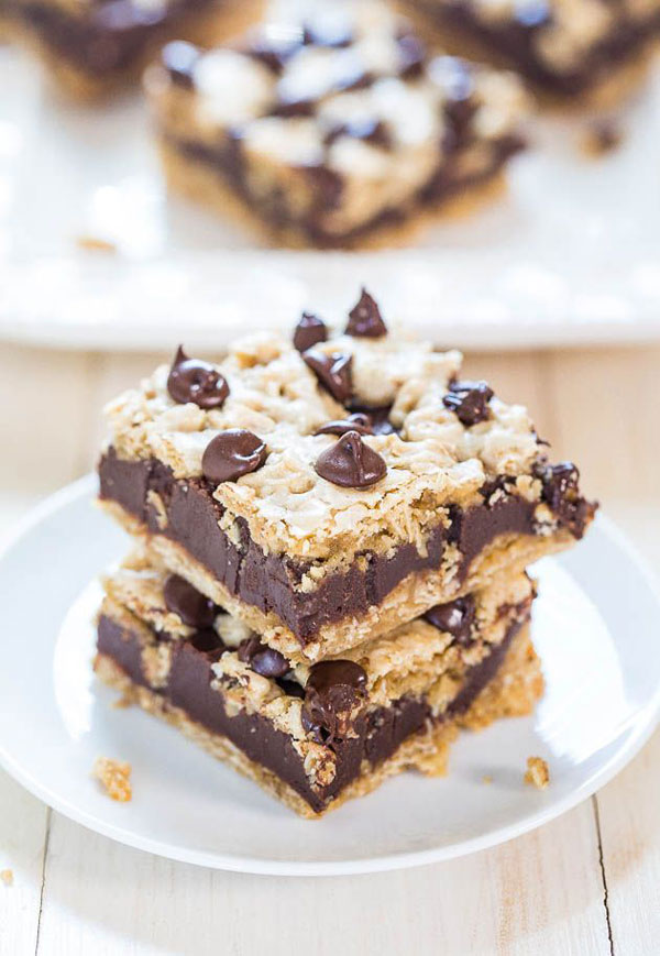 50+ Best Squares and Bars Recipes - Fudgy Oatmeal Chocolate Chip Cookie Bars