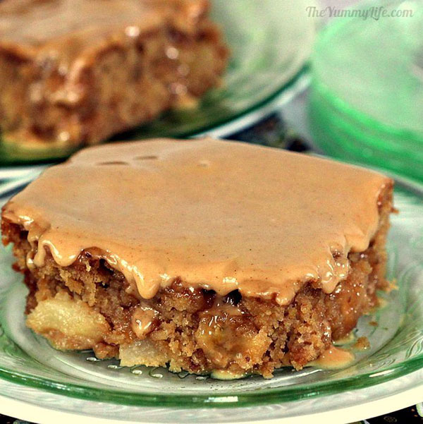 50+ Best Squares and Bars Recipes - Gooey Whole Wheat Apple Bars with Apple Cider Glaze