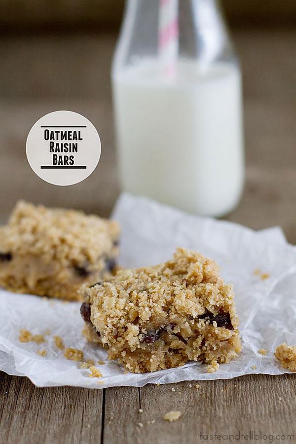 50+ Best Squares and Bars Recipes - Oatmeal Raisin Bars
