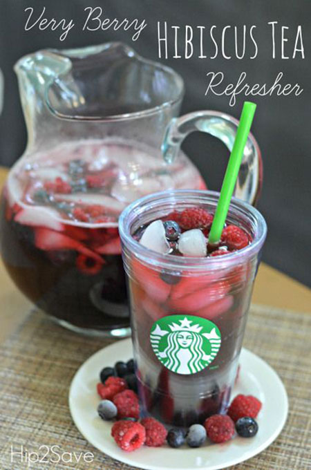 50+ Homemade Starbucks Recipes - Very Berry Hibiscus Tea Refresher
