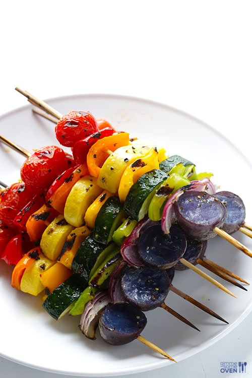 50+ Food on a Stick Lunch Ideas - Rainbow Veggie Skewers