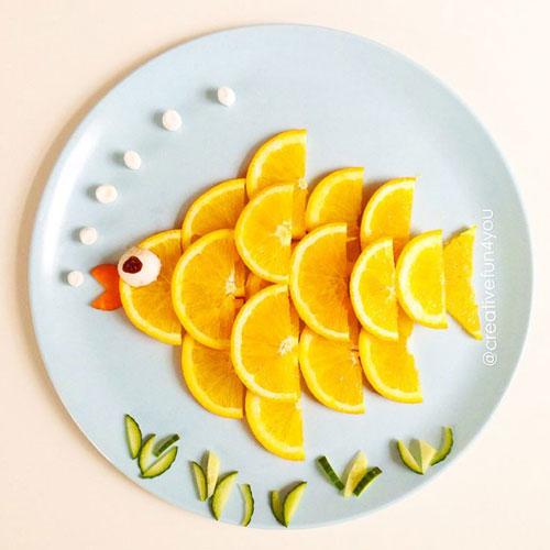50+ Kids Food Art Lunches - Orange Fish