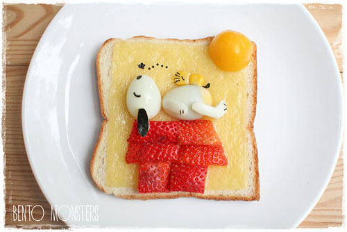 50+ Kids Food Art Lunches - Sleeping Snoopy