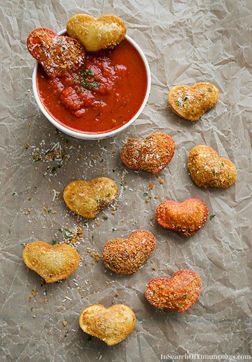 30+ Healthy Valentine's Day Food Ideas - Fried Ravioli Hearts