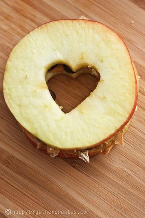 30+ Healthy Valentine's Day Food Ideas - Heart Apple Sandwich