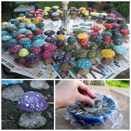 20 Best DIY Garden Crafts - DIY Concrete Mushroom