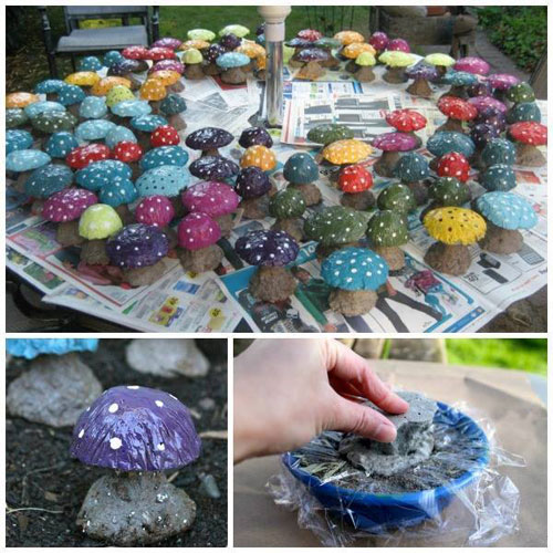 20 Best DIY Garden Crafts - DIY Concrete Mushroom