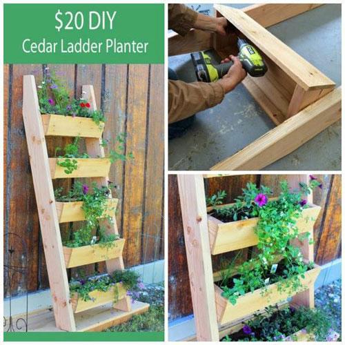 20 Best DIY Garden Crafts - DIY Ladder Garden Planter