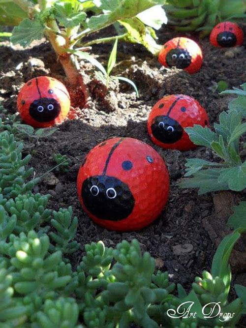 20 Best DIY Garden Crafts - Ladybug Golf Ball