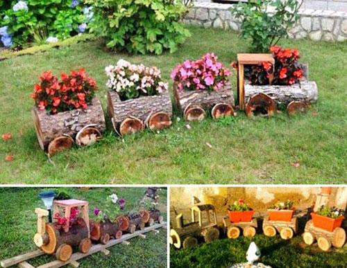 20 Best DIY Garden Crafts - Log Train Flower Pots