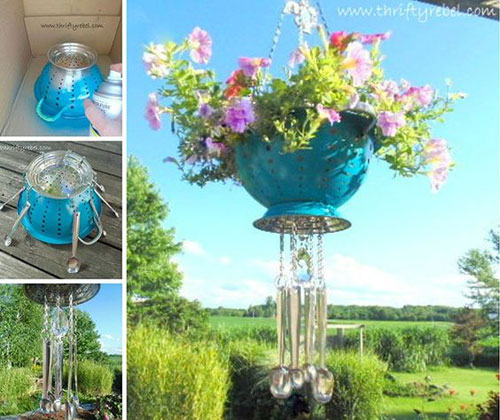 20 Best DIY Garden Crafts - Strainer Planter Wind Chimes
