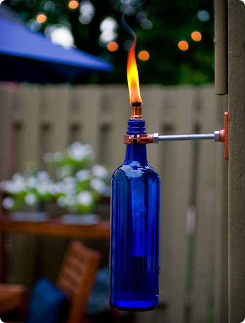 37 Awesome DIY Summer Projects - Recycled Wine Bottle Torch
