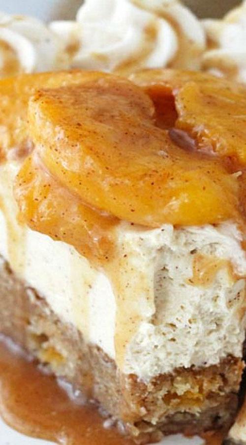 50+ Best Peach Recipes - Peach Caramel Blondie Cheesecake