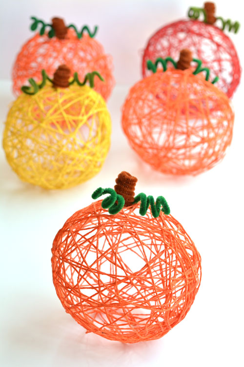 How to:  Make Yarn Pumpkins Using Balloons | One Little Project