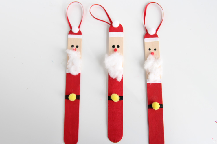 Popsicle Stick Santas One Little Project