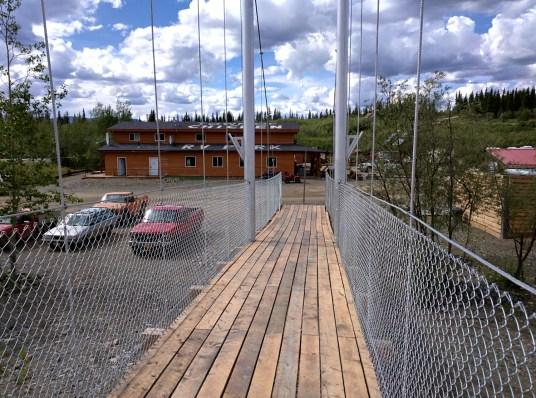 Suspension foot bridge over the river.