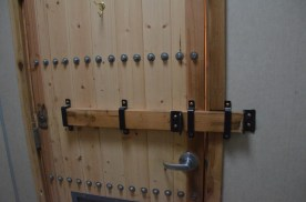 Inside of restroom door. Durable construction also gives a bit of rustic feel.