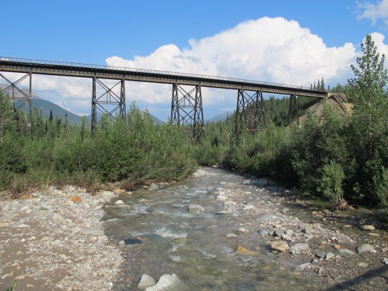 View from the bridge of the Alaska Railroad trestle east, downstream and closer to the highway.