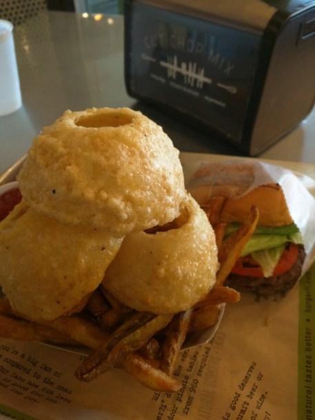 Onion rings at BurgerFi.
