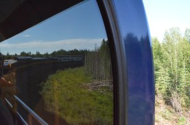 Looking back through the window of our car. The two different cars at the back of the train are full of cruise travelers.