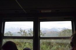 View out of the window of the bus.