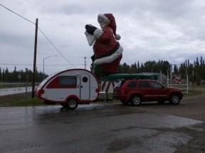 Santa looms over the parking lot at Santa Clause House, North Pole Alaska