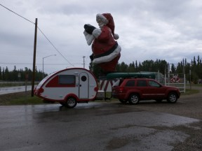 Santa looms over the parking lot at Santa Clause House, North Pole Alaska