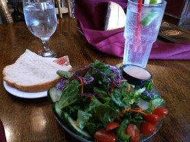 House mixed greens salad, sourdough bread and never ending soda water.