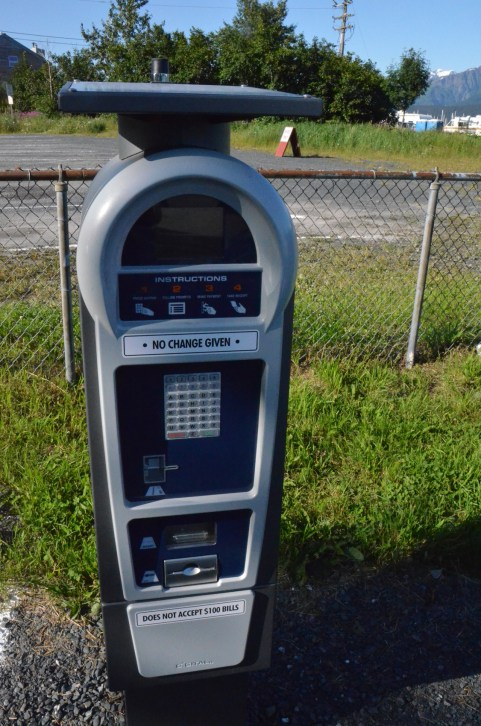 Back at Seward, here's the ticket dispenser for parking your RV in the converted gravel baseball lot.