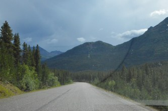In the north the road winds through mountains