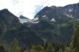 Hanging Glaciers high on the mountain side.