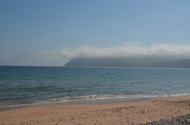 East side beach, fog is lifting.