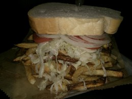 Primanti Brothers Sandwich. Double Pastrami with your Fries and Coleslaw ON the sandwich
