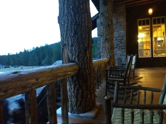 Rocking Chair from which to watch Old Faithful. (at the Lodge)