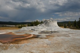 Castle Geyser, note the colors in the runoff